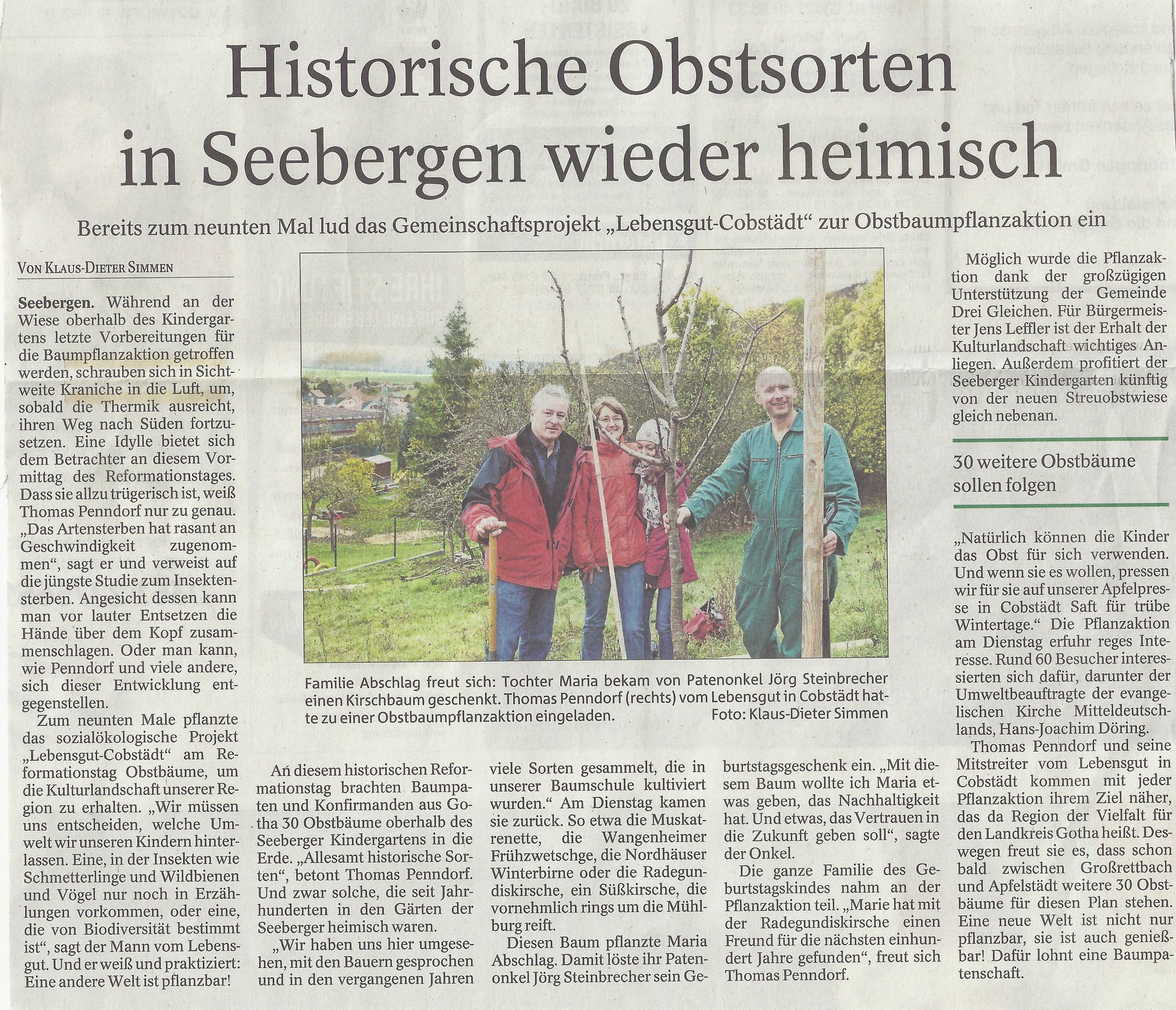 Historische Obstsorten in Seebergen wieder heimisch (2017)